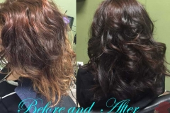 Before and after brown hair color for women