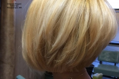 Bleached full head, with a stacked bob haircut