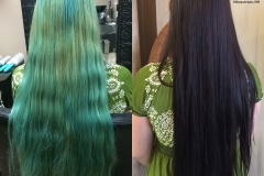 Fashion blue washout to beautiful dark mahogany brown hair color abq