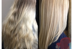 Full blonde highlights and long layered haircut