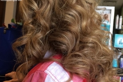 Long haircut with curling iron curls