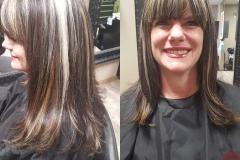 Long layers haircut, Slice highlights and lowlights, Blunt bangs