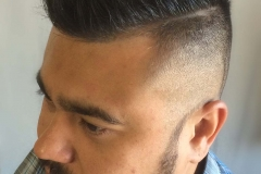 Men's haircut, polished fade, with a hard part