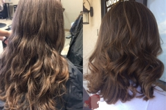 Natural baby light balayage, long layered haircut abq