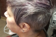 Purple highlights hair color, short hairstyle, textured hair, razor haircut