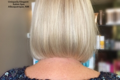 Thin hair made voluminous. Color with highlights and bob haircut