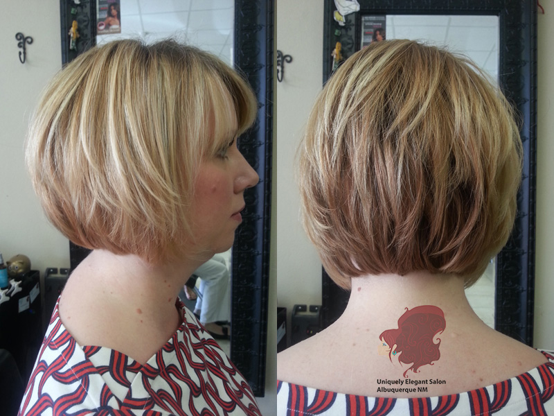 Marvelous Woman Haircuts Stacked Bob Style Albuquerque Nm 1