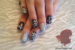 manicure-albuquerque-square-acrylics-nails-chevron-stripes-anchor-design-black-silver
