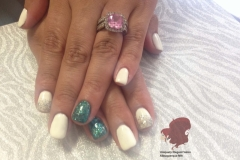 manicures albuquerque nm gel nails white out-2-accent-green-glitter-faded-silver-glitter