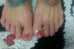 pedicure-albuquerque-red-gel-nails-white-polka-dot-design