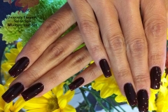 Sculptured acrylic nails with gel polish color and freehand nail designs abq