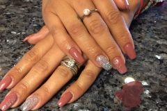 Side ombre acrylic nails with sparkle accent nail art abq